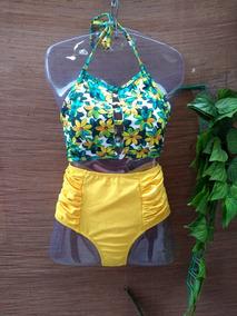 Bikini Hot Pans Top Cropped Amarelo Verão 2019 Blogueiras