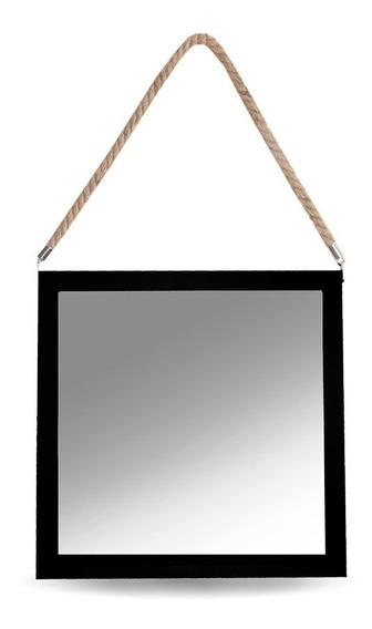 Espejo Cuadrado Para Colgar Con Soga 30 X 30 Cm Marco Madera