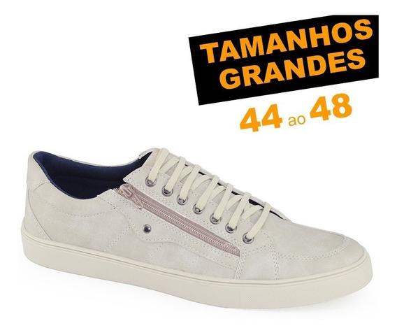 Sapatênis Ms Ziper Vanilla Tamanho Grande 44 45 46 47 E 48
