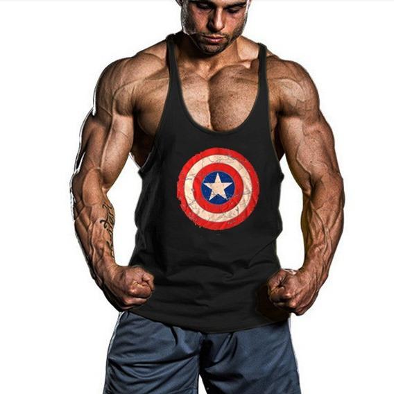 Playera Olimpica Captain America Gym Camiseta Tirante