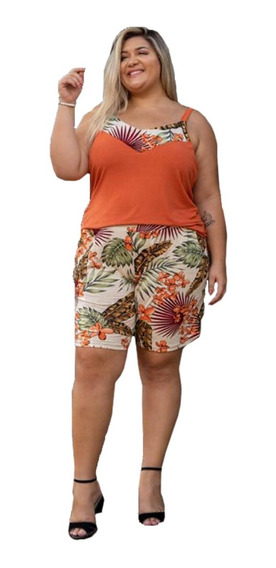 Conjunto Feminino Plus Size Regata Blusinha Shorts Grande G2