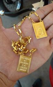 Escapulario Prata Banhada A Ouro Tijolinho - Placa Grande -
