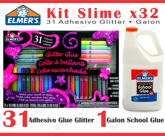 Kit 32 Piezas Elmers Tonos Pastel Y Glitter + 1 Galon