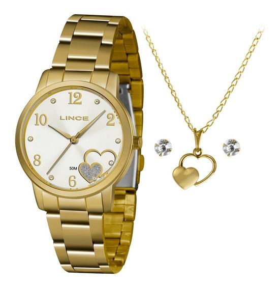 Kit Relogio Lince Feminino Lrgj108l Kx45 Dourado Coração