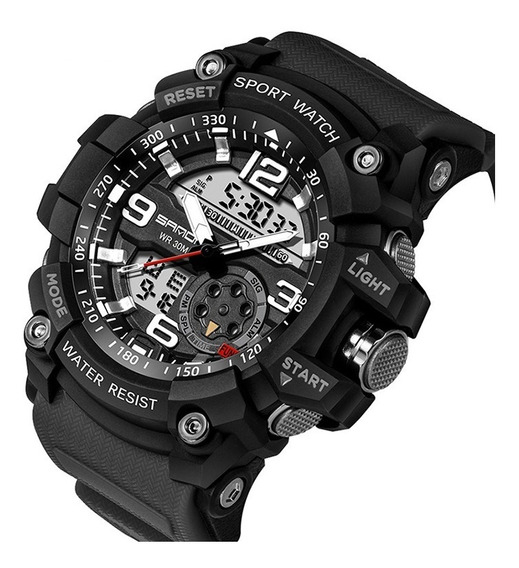 Relógio Sanda Analógico Digital Esportivo Militar 2 Baterias