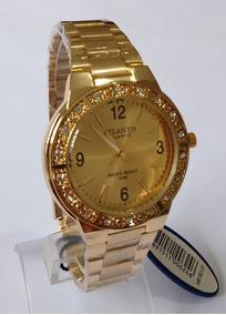 Relógio Dourado Feminino Original Atlantis.