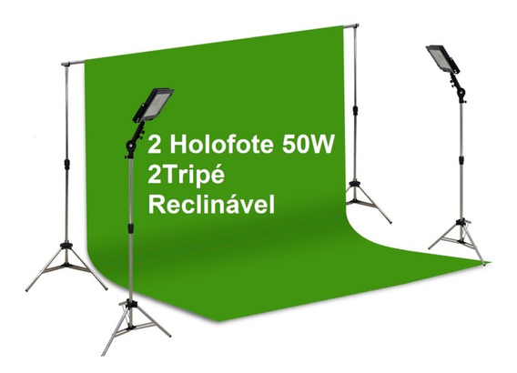 Fundo Infinito Key3x3 + 2 Holofote50w 2 Tripé Reclina+ Trave