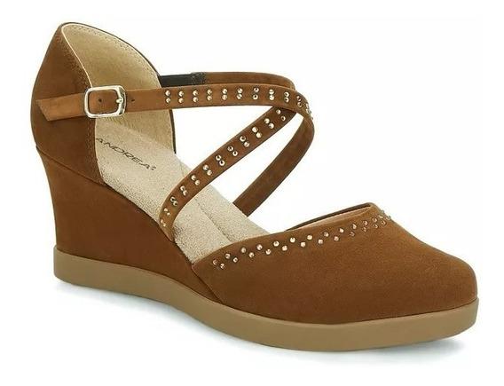 Hermosos Zapatos Marca Andrea Confort Café Pedreria 2047