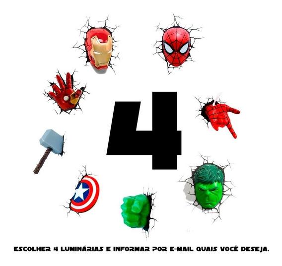 Kit 4 Luminárias Marvel 3d Light Fx Avengers Spider-man