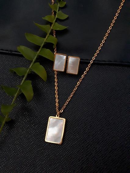 Colar E Brincos De Aço, Semi Joia, Dourado, Presente