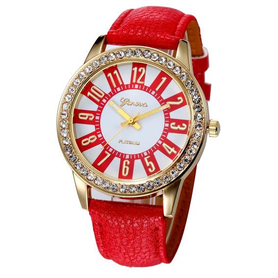 Relógio Feminino Vermelho Casual Geneva Pulseira De Couro Pu
