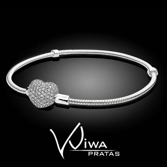Pulseira Coração Prata Maciça Legítima 925 Bracelete Em Prata De Lei Para Berloques Pandora Vivara Life