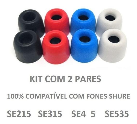 Espumas Fones Shure 2 Pares In Ear Tips Se215 Se315 Se425