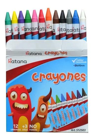 Set De 12 Unidades Crayon Crayones Escolar Katana Colores