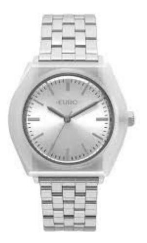 Relogio Feminino Prata Euro Caixa Branca Fashion Eu2035yna