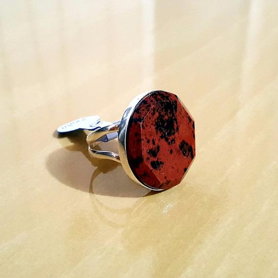 Anel Em Prata 925 Com Pedra Natural Obsidiana Maragony