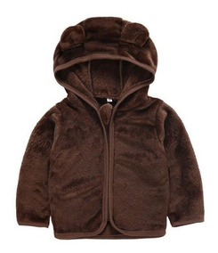 Jaqueta Infantil Menino Urso Inverno Fleece Plush Inverno