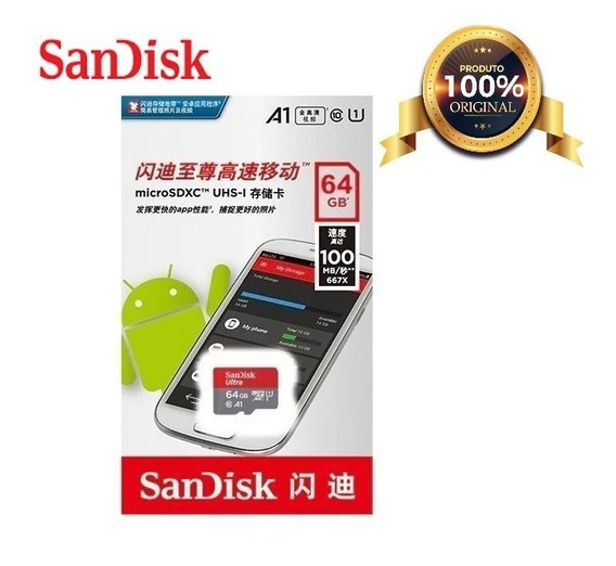 Cartão Micro Sd Sandisk Ultra 64gb 100mb/s Sdxc C10 A1