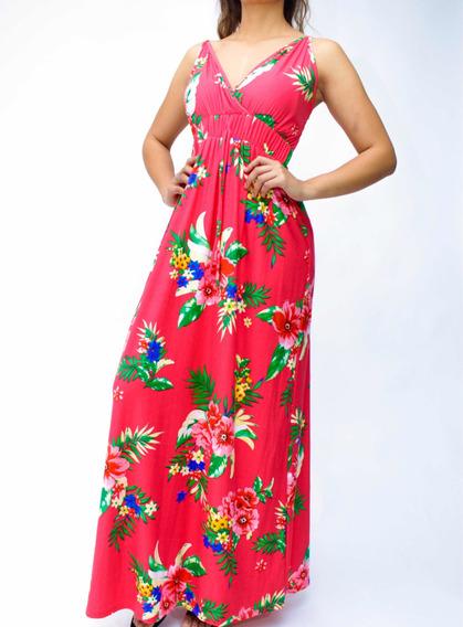 Vestido Largo Flores De Tirantes. Primavera Verano