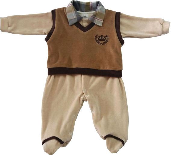 Saída Maternidade Plush Macacão C/colete E Saco De Dormir