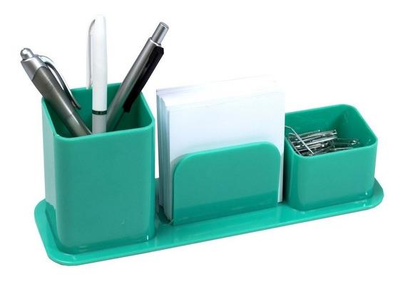 Porta Canetas Triplo Organizador Verde