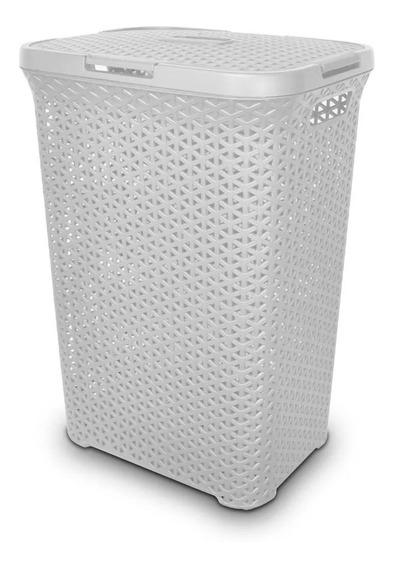 2 Canastos Simil Ratan Cesto Plástico Alto C/tapa Colombraro
