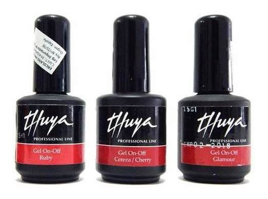 Thuya Gel On Off Kit X 3 Esmaltes Uñas Color Semipermanentes