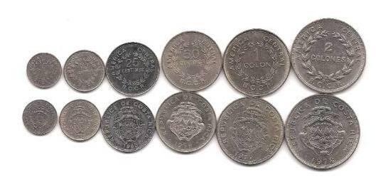 Serie De 6 Monedas De Costa Rica Años 1970 A 1980 Excelentes