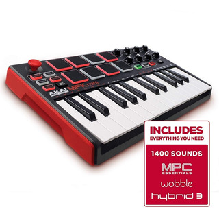 Controlador Midi Akai Mpk Mini Mk2 Pro 25 Teclas Rojo Msi