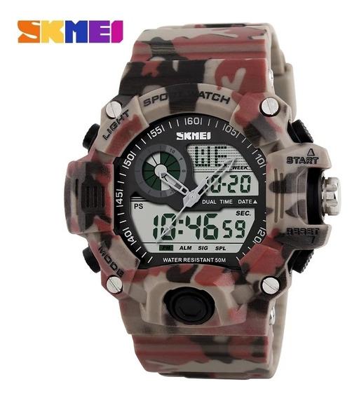 Relógio Digital Camuflado Militar Skmei Cronômetro Masculino