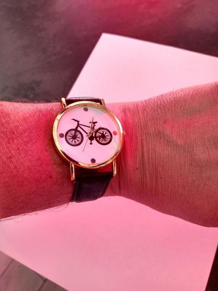 Relógio Bike Com Pulseira Em Couro