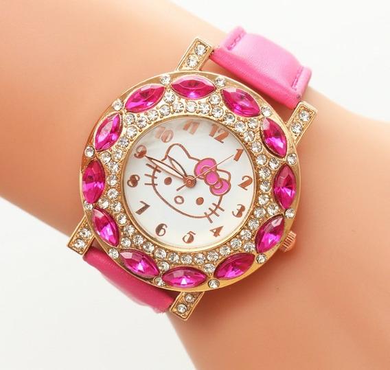 Relógio Feminino Pulso Hello Kitty Infantil Strass - Pink