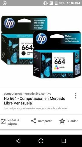 Cartucho De Tintas 664 Hp Color Y Negro