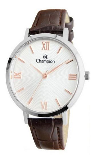 Relógio Feminino Prata Champion Pulseira De Couro Marrom