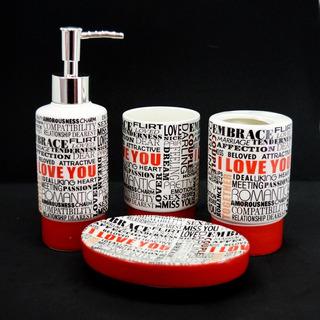 Set Accesorios P/baño 4 Pzas Cerámica Dispenser Jabonera