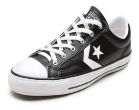 Tênis Converse Star Player Leather Ox Preto Branco Original