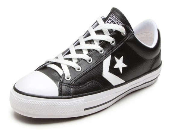 Tênis Converse Star Player Leather Ox Preto Branco Original