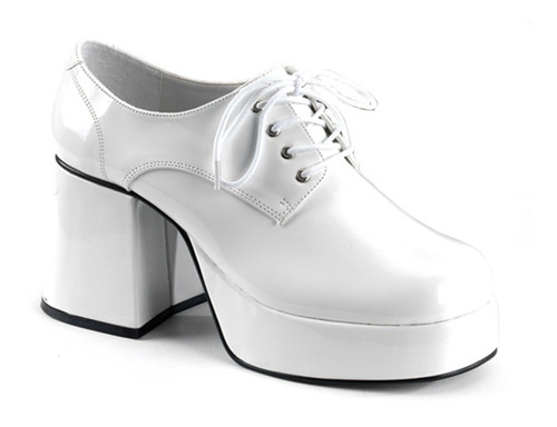 Zapatos Disco Plataforma Retro 70's Blancos Para Adultos 1