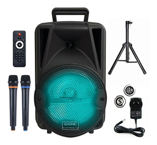 Parlate Portatil Bluetooth Mp3 Usb + 2 Mics + Tripode Luces