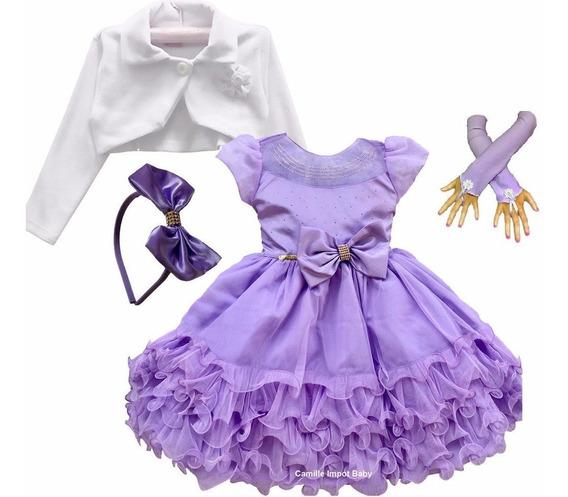 Vestido Infantil Luxo Princesa Sofia E Tiara Luvas E Bolero