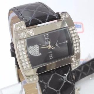 Relógio Feminino Dumont Sw35053p Strass Pulseira Couro