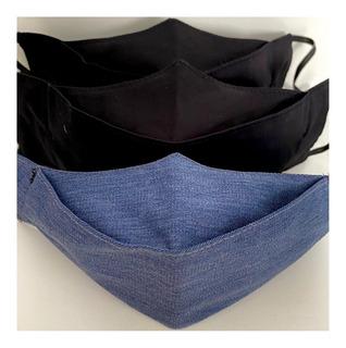 Máscara De Tecido 3d Lavável Não Descartável - Kit 3 Unid