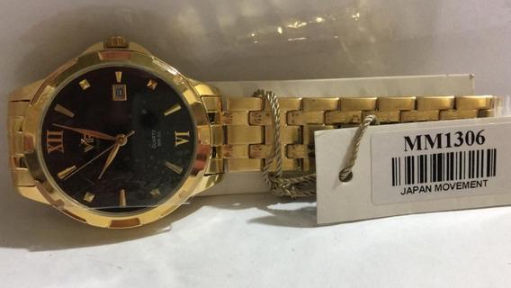 Relógio Vip Mm-1306 Pulseira Dourada Fundo Preto Promoção