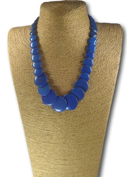 Colar De Pedra Natural Howlita Azul Ref: 9675