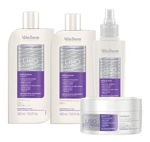 Kit Liso Extremo Shampoo Condicionador Mascara Vita Derm