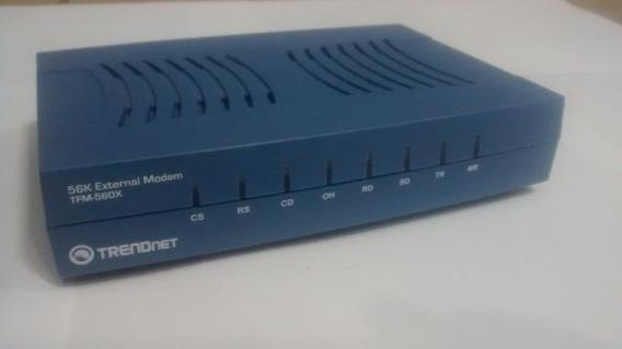 Modem Externo 56k Trendnet Tfm-560x Fonte Cabos