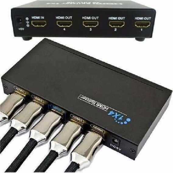 Splitter Distribuidor Cabo Hdmi 1x4 Divisor Full Hd 1.4 3d