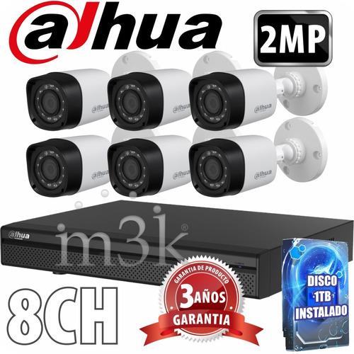 Kit Seguridad Dahua Full Hd Dvr 8 + Disco 1 Tb Instalado + 6 Camaras 2mp 1080p Exterior Infrarrojas + Ip M3k