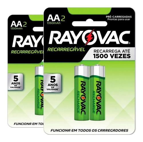 Pilha Recarregável Rayovac Aa 1350 Mah - 4 Pilhas