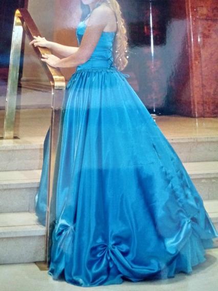 Vestido De Quince 15 Años Turquesa! Impecable!! Corte Prince